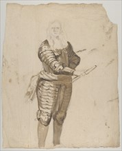 Study of a Standing Commander Holding a Staff; verso..., early 17th-mid 17th century. Creator: Cornelis Schut I.