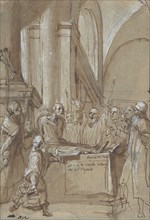 Raymond Diocrès Speaking During His Funeral (from the Life of Saint Bruno of Cologne), 1628-29. Creator: Daniele Crespi.