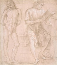 Standing Youth with Hands Behind His Back, and a Seated Youth Reading (recto)..., 1457/58-1504. Creator: Filippino Lippi.