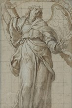 Standing Angel Holding a Scroll, ca. 1614. Creator: Giovanni Domenico Caresana.
