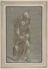Standing Male Draped Figure With His Hands Raised, 1565-71. Creator: Giovanni Paolo Lomazzo.