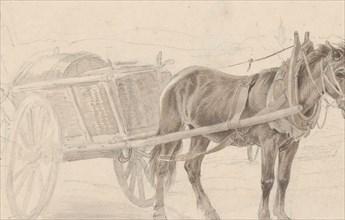 A Cart Drawn by a Brown Horse Near a Lamp Pole; Verso: A Group of Mounted Officers, ca. 1815. Creator: Johann Adam Klein.