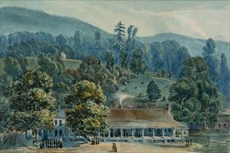 Dining Room and Stage Offices at White Sulphur Springs, 1832. Creator: John Hazelhurst Boneval Latrobe.
