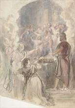"Scene from ""My Aunt Margaret's Mirror"" (Keepsake Story by Sir Walter Scott), ca. 1828. Creator: John William Wright."