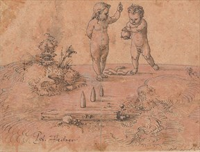 Two Children Playing with a Ball, 1500-1546. Creator: Peter Flotner.