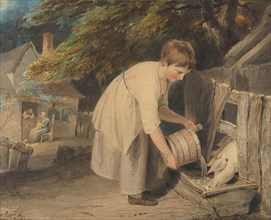 Girl Feeding Pigs, 1800. Creator: Richard Westall.