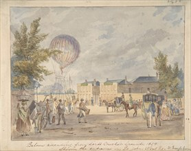 Balloon Ascending Near the Entrance to Lord's Cricket Ground, 1839, ca. 1839. Creator: After Robert Bremmel Schnebbelie.