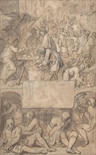 Study for a Title-Page: Allegory of Commerce and a Debtor's Prison (?), n.d.. Creator: Attributed to Romeyn de Hooghe.