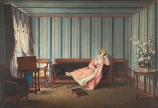Woman in Pink Reclining on a Canape, 1819. Creator: Theodore Lebrun.