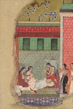 The Death of King Dasharatha, the Father of Rama, Folio from a Ramayana, ca. 1605. Creator: Unknown.