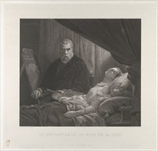 Tintoretto at His Daughter's Deathbed, after 1843. Creator: Achille-Louis Martinet.