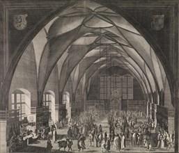 Interior View of Vladislav Hall at Prague Castle during the Annual Fair, 1607., 1607. Creator: Aegidius Sadeler II.