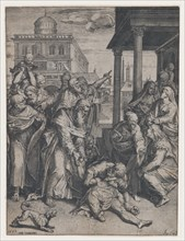 Saint Paul raising Patroclus who is on the ground, surrounded by a group of onlookers, ..., 1583. Creator: Agostino Carracci.