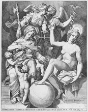 Allegory of the Psalm of David; Misericordia seated to the left feeding four children with..., 1579. Creator: After Agostino Carracci.