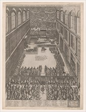 Speculum Romanae Magnificentiae: A Papal Gathering in the Sistine Chapel, Michelangelo's L..., 1582. Creator: Giovanni Ambrogio Brambilla.
