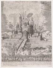 Speculum Romanae Magnificentiae: The Girandola at the Castel Sant'Angelo, Rome, 1579, 1579., 1579. Creator: Giovanni Ambrogio Brambilla.