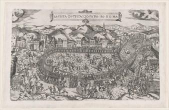 Speculum Romanae Magnificentiae: Carnival games held in the Mount Testaccio in Rome, 1558., 1558. Creators: Vincenzo Luchino, Monogrammist ITF.