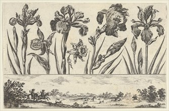 Horizontal Panel with a Row of Flowers Above a Frieze with a Hunting Scene in a Landscape,..., 1645. Creator: Nicolas Cochin.