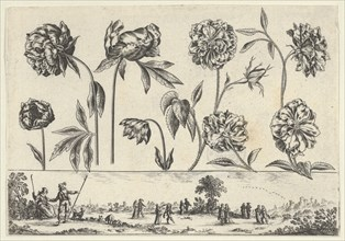 Horizontal Panel with a Row of Flowers Above a Frieze with Figures in a Landscape, from Li..., 1645. Creator: Nicolas Cochin.