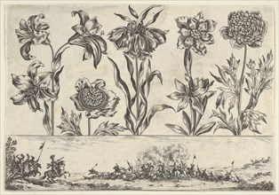 Horizontal Panel with a Row of Flowers Above a Frieze with a Battle Scene in a Landscape, ..., 1645. Creator: Nicolas Cochin.