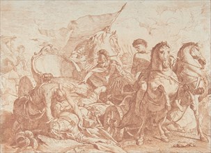Fall of Antiochus From His Chariot, 18th century., 18th century. Creator: Noël Hallé.