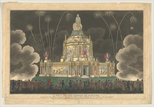 A View of the Temple of Concord Erected in the Green Park, to Celebrate the G..., September 9, 1814. Creator: Robert Laurie.