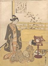 A Teenage Boy and Girl with a Viewer for an Optique Picture (Nozoki-karakuri); Kobo Da..., ca. 1788. Creator: Suzuki Harunobu.