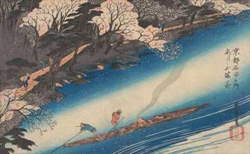 Cherry Blossoms at Arashiyama, from the series Famous Places of Kyoto, ca. 1834., ca. 1834. Creator: Ando Hiroshige.