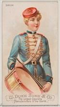 Drum, from the Musical Instruments series (N82) for Duke brand cigarettes, 1888., 1888. Creator: Schumacher & Ettlinger.
