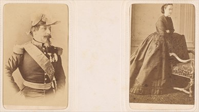 [Carte-de-Visite Album of Prominent Personages], 1860s-70s. [Emperor Napoleon III of France, and Empress Eugenie].