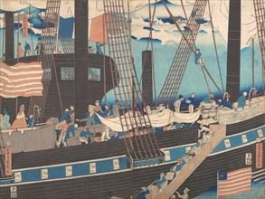 ?Yokohama Trade: Westerners Loading Cargo? , 4th month, 1861.