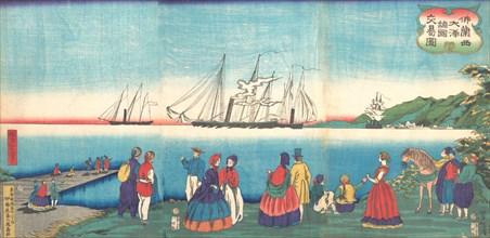 Illustration of a Large French Port Trading with Many Nations (Furansukoku oominato shokoku koeki zu), 4th month, 1866.