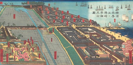 Detailed Print of Yokohama Hon-cho and the Miyozaki Pleasure Quarter, 4th month, 1860.