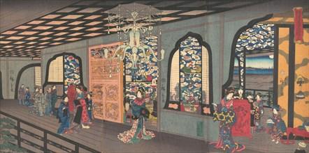 Upper Floor of the Gankiro Tea House in Yokohama, 4th month, 1860.