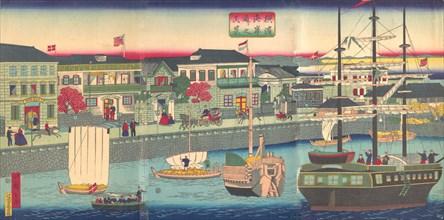 View of the Seafront in Yokohama (Yokohama Kagandori no fukei), 5th month, 1870.