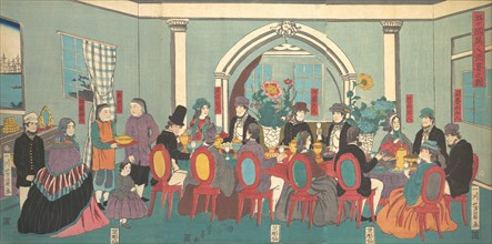 Foreigners from the Five Nations Enjoying a Banquet, 3rd month, 1861.