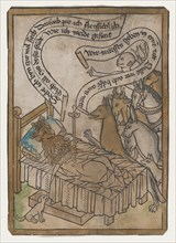 The Sick Lion Summons the Animals to His Bedside, from the Sick Lion blockbook, 2nd edition, ca. 1465.