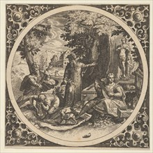 Scene with a Warning Against Venereal Disease in a Circle at Center, 1580-1600.