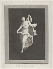 A partly nude bacchante stepping forward and holding ends of her drapery in each hand, ca. 1795-1820.