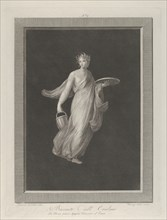 A partly naked bacchante holding a disk in her raised left hand and a bucket in her right, ca. 1795-1820.
