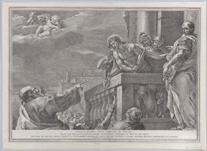 Christ on a balcony surrounded by guards, Pilate stands to the right gesturing toward him; from the series of 112 prints of the sacred history, after the painting by Mattia Preti, ca. 1730-39.