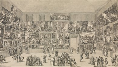 View of the Salon of 1785, 1785. [Coup d'oeil exact de l'arrangement des Peintures au Salon du Louvre, en 1785].