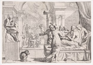 The prodigal son seated on a couch being served wine, revelers in the background, a monkey wearing a collar and chain in the lower left, from a series of four prints, ca. 1645.