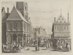 """City magistrates taking leave of Marie de Medici before the town hall, from Caspar Barlaeus, """"Medicea Hospes"""", 1638."""