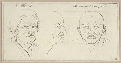 Le Pleurer and mouvement composé (from Caractères des passions, gravés sur les desseins de l'illustre Monsieur le Brun), 1695-1720.