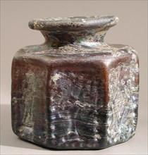 Octagonal Bottle, Byzantine, 500-629. Decorated with Jewish symbols.