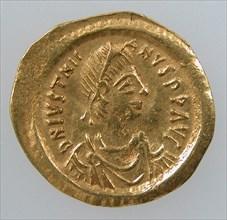 Gold Tremissis of Emperor Justinian I, Byzantine, 527-602.