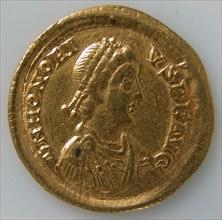 Solidus of Honorius (r. 395-423), Byzantine, 395-423.