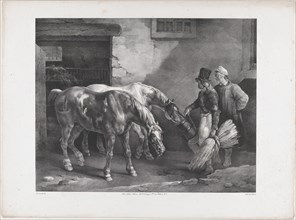 Two Post Horses at the Door of a Stable, 1822.