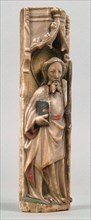 Relief of Standing Saint under Oggi Arch, British, ca. 1450. The Apostle Jude, from a lost altar, holds the spear of his martyrdom.